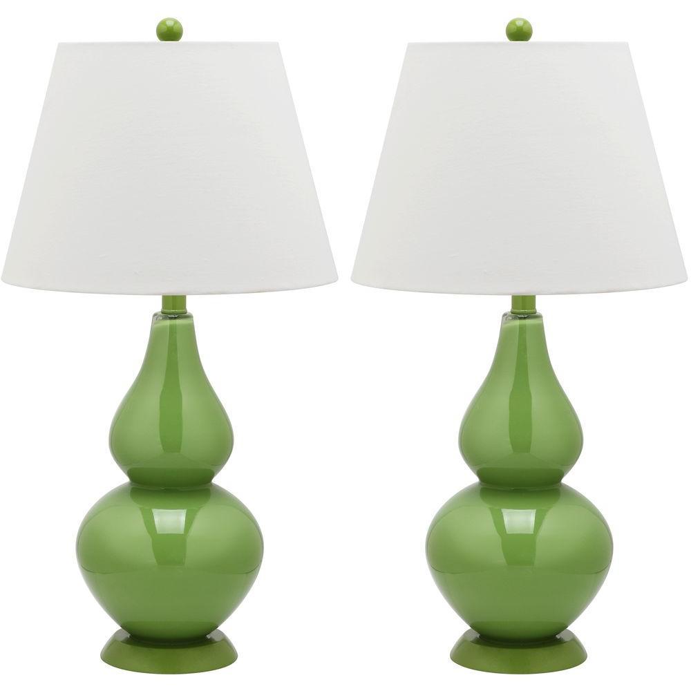 Cybil 26.5 in. Fern Green Double Gourd Glass Lamp (Set of 2)