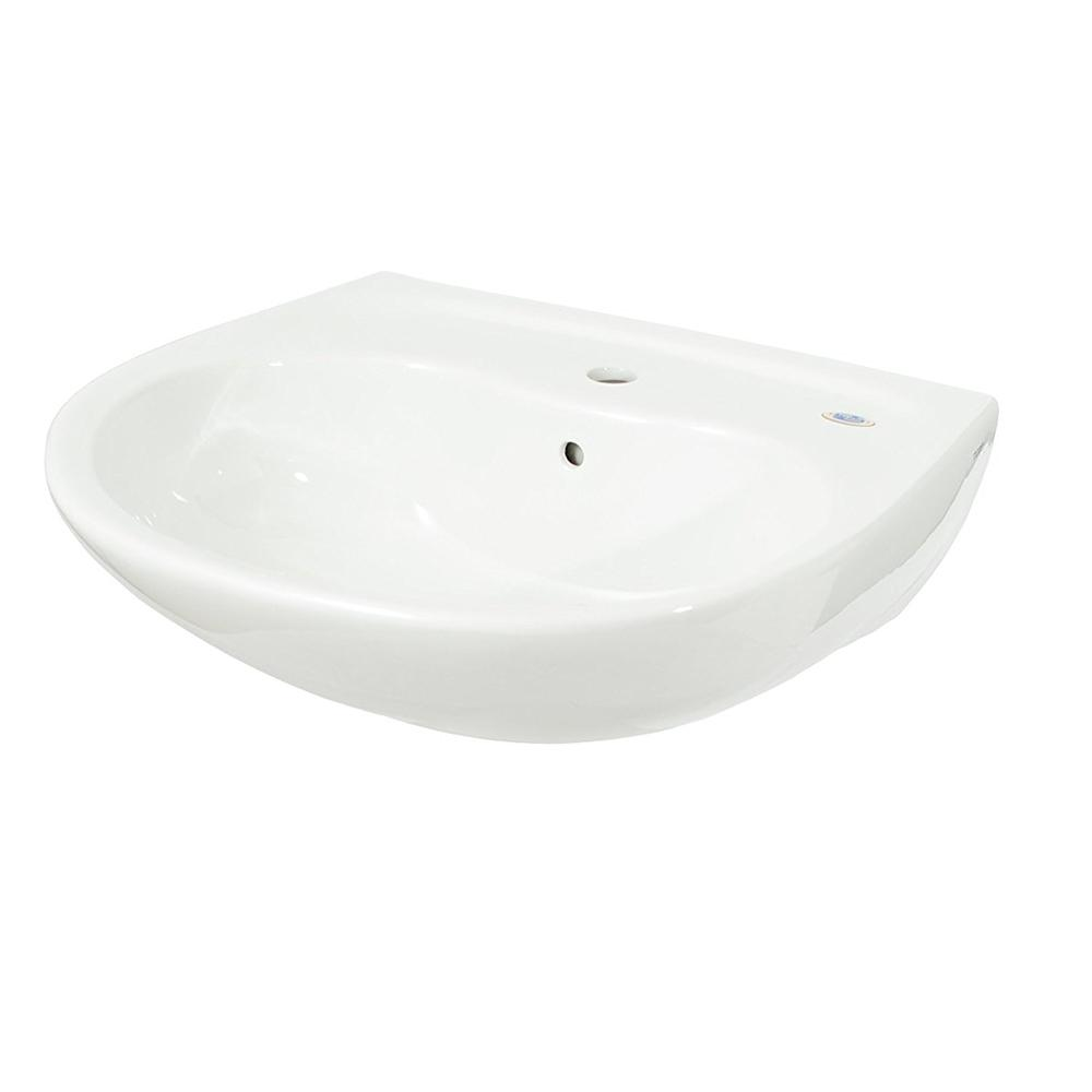 30 in. Wall Mount Bathroom Sink in Cotton White with CeFiONtect