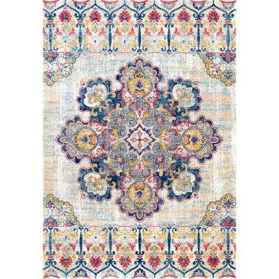 Vintage Floral Corrinne Yellow 8 ft. x 10 ft. Area Rug
