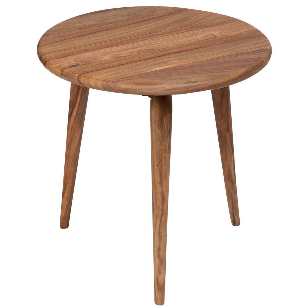 Urban Mid-Century Modern Sheesham Wood Round End Table