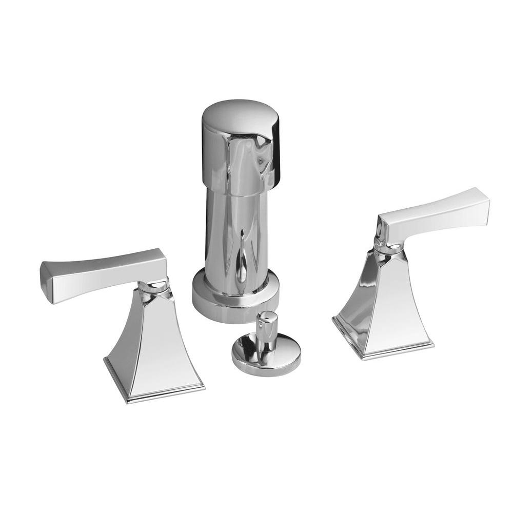 KOHLER Memoirs 2-Handle Bidet Faucet in Polished Chrome with Stately Design and Deco Lever Handles