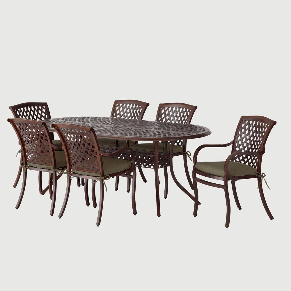 Hampton Bay Morgan Classic 7 Pc. Patio Dining Set with Sunbrella Canvas Teak Cushions-DISCONTINUED