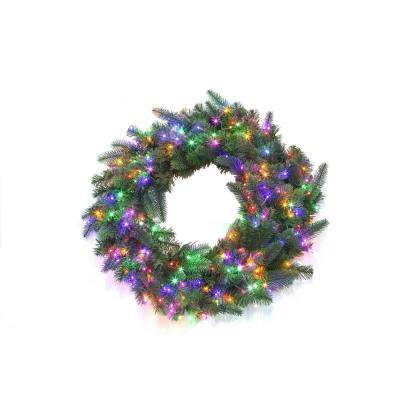 30 in. Pre-Lit LED Multi Starry-Light Grand Spruce Wreath