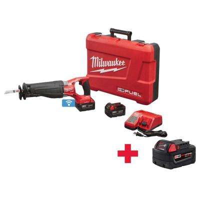 M18 FUEL With ONE-KEY 18-Volt Cordless Lithium-Ion Brushless Sawzall Kit with Free 5.0AH Battery