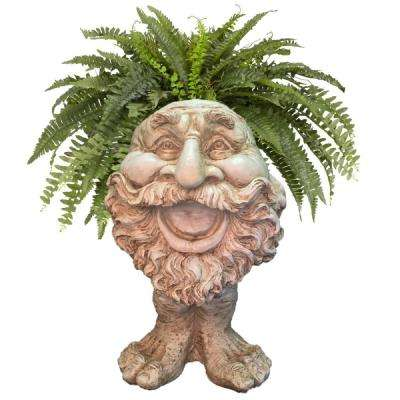 18 in. Antique White Ole Salty the Muggly Statue Face Planter Holds 7 in. Pot