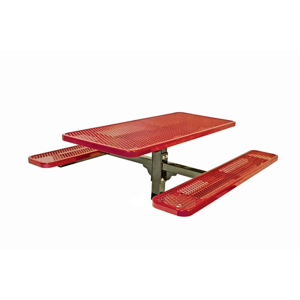 Ultra Play 6 ft. Diamond Red Commercial Park Single Pedestal Rectangular In-Ground Table