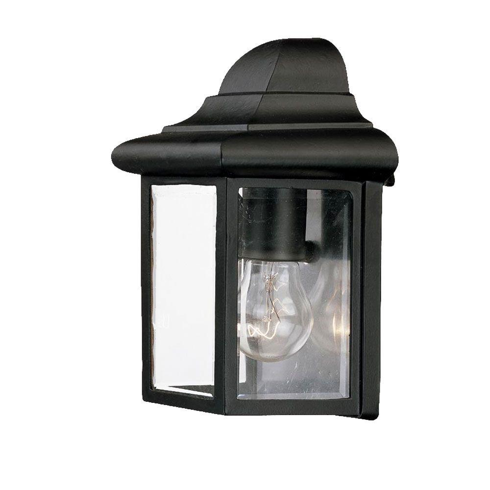 Pocket Lantern Collection 1-Light Matte Black Outdoor Wall-Mount Fixture