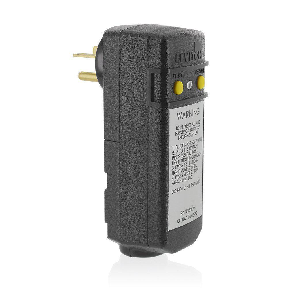 Leviton 20 Amp 120 Volt Right Angle Grounding Gfci Plug Black 081 16793 000 The Home Depot