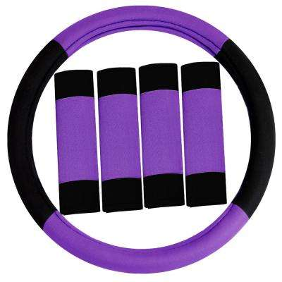 Modernistic Flat Cloth Steering Wheel Cover and Seat Belt Pads