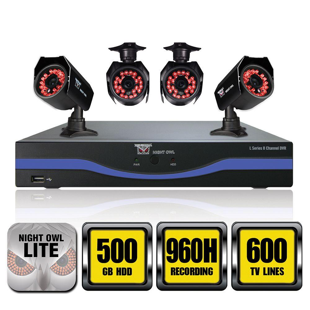 Night Owl 8-Channel 960H Surveillance System with 500GB Hard Drive and (4) 600TVL Cameras