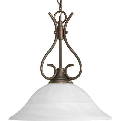 Pendants Collection 1-light Antique Bronze Pendant with Alabaster Glass Shade
