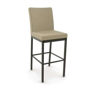 Perry 26 in. Semi-Transparent Gun Metal Beige Fabric Counter Stool