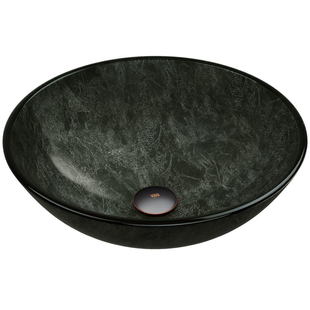 Vigo Glass Round Vessel Bathroom Sink In Onyx Gray Vg07051 The Home Depot