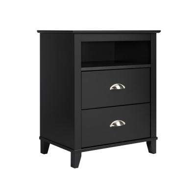 Yaletown 2-Drawer Black Tall Nightstand
