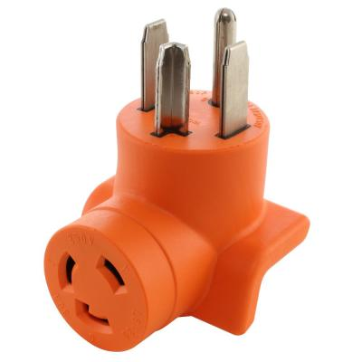 Industrial L6-30R 30 Amp 250-Volt Locking Female Connector to 4-Prong Dryer 14-30P Plug Adapter