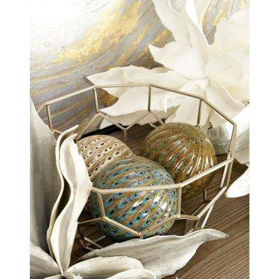 4 in. Dia Cherry Red, Turquoise, Sage Green/Brown and Tan/Brown Sea Urchin-Style Ceramic Decorative Balls (Set of 4)