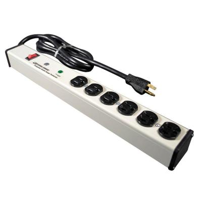 Wiremold Perma Power 6-Outlet 20 Amp Computer Grade Surge Strip with Lighted On/Off Switch, 6 ft. Cord