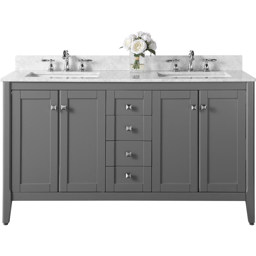 Ancerre Designs Maili 60 in. W x 22 in. D Vanity in Sapphire Gray with Marble Vanity Top in Carrara White with White Basins