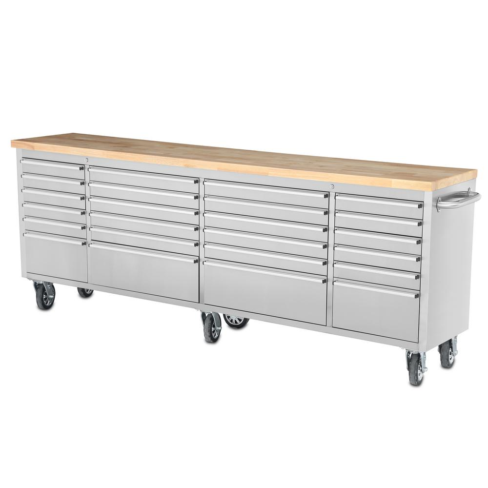 24 Drawer Mobile Workbench In Stainless Steel
