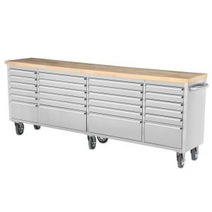 96 inch 24-Drawer Mobile Work Bench, Stainless Steel by