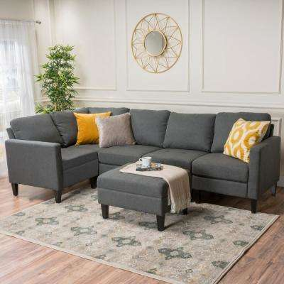 6-Piece Oxford Gray Fabric Sectional and Ottoman Set