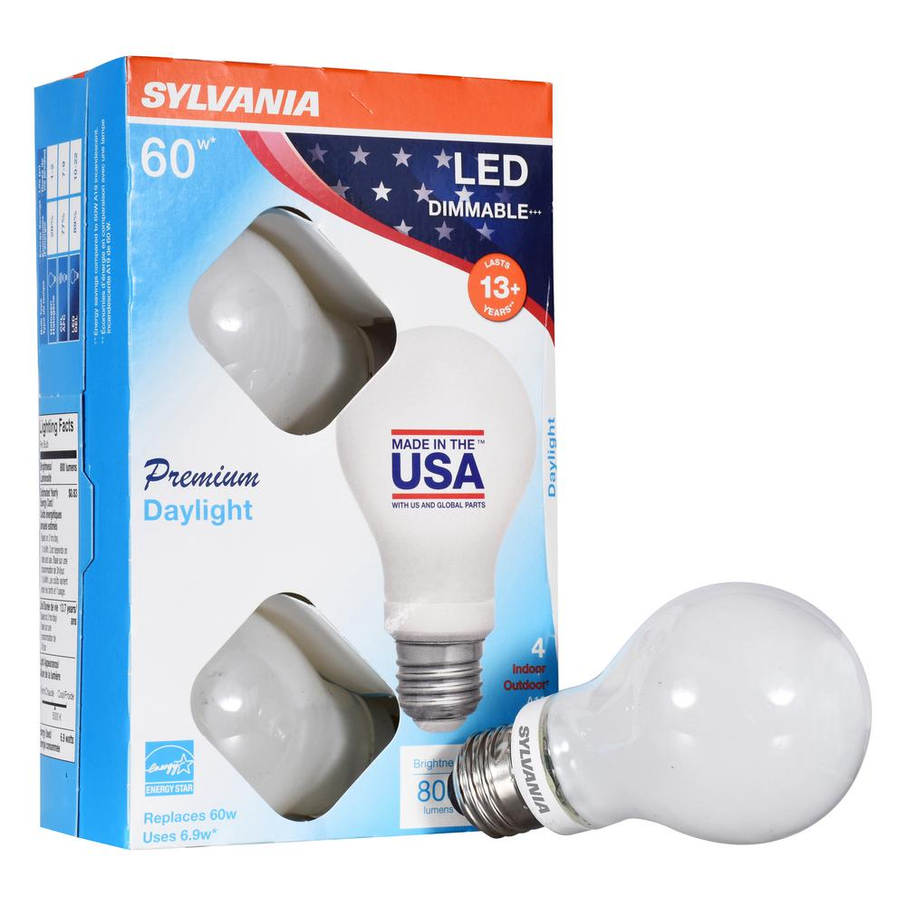 A19 LED Light Bulbs 4 Pack Ledvance 74971 SYLVANIA 75 Watt Equivalent Soft White Color 2700K Dimmable Made in the USA with US and Global Parts