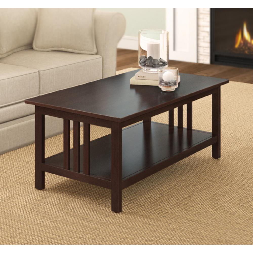 Espresso Coffee Table With Storage: Alaterre Furniture Espresso Coffee Table-AMIA11P0