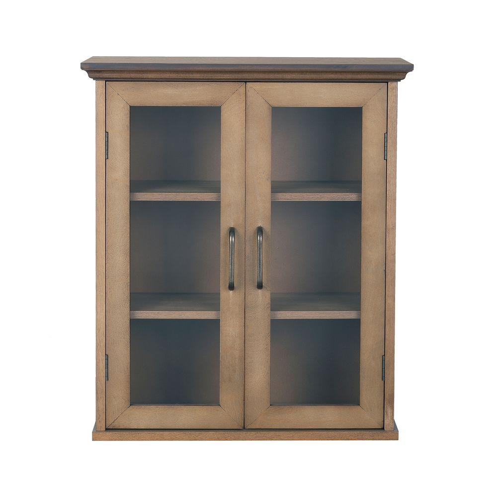 Elegant Home Fashions Park 24 in. H x 20.5 in. W x 08.5 in. D Wall Cabinet in Reclaim Wood Color-DISCONTINUED