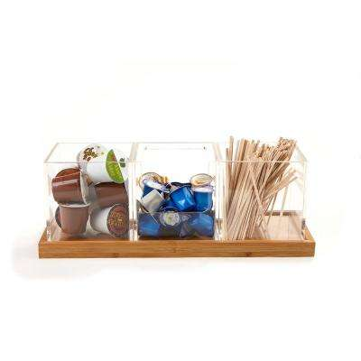 4-Piece Acrylic Condiment Organizer With Bamboo Base, Clear