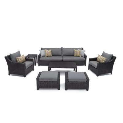 Deco 8-Piece Patio Sofa and Club Chair Deep Seating Set with Charcoal Grey Cushions