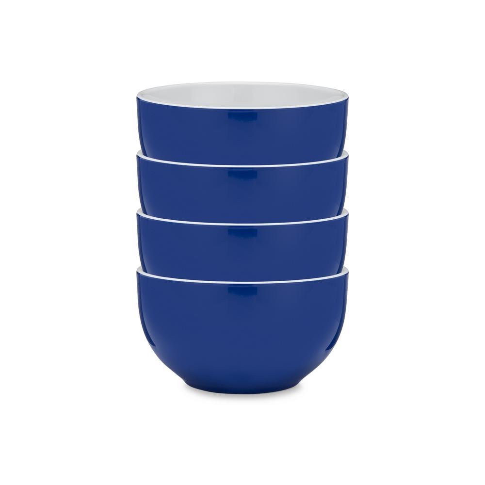 Q Squared Bistro 4-Piece Blue Melamine Cereal Bowl Set BISBL04