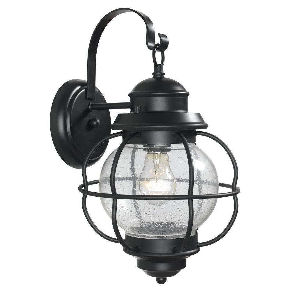 Kenroy Home Hatteras 1-Light Black Medium Wall Lantern