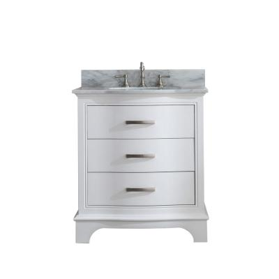 Monroe 30 in. W x 22 in. D Bath Vanity in White with Natural Marble Vanity Top in Carrara White with White Basin