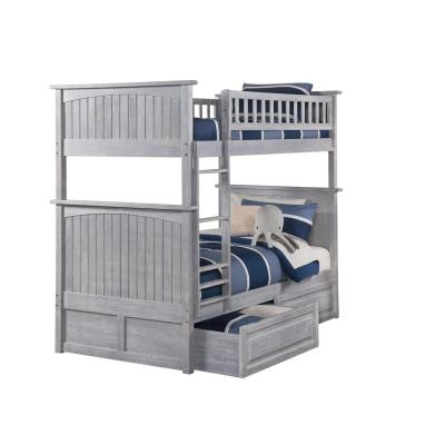 Nantucket Bunk Bed Twin over Twin with Raised Panel Drawers in Driftwood