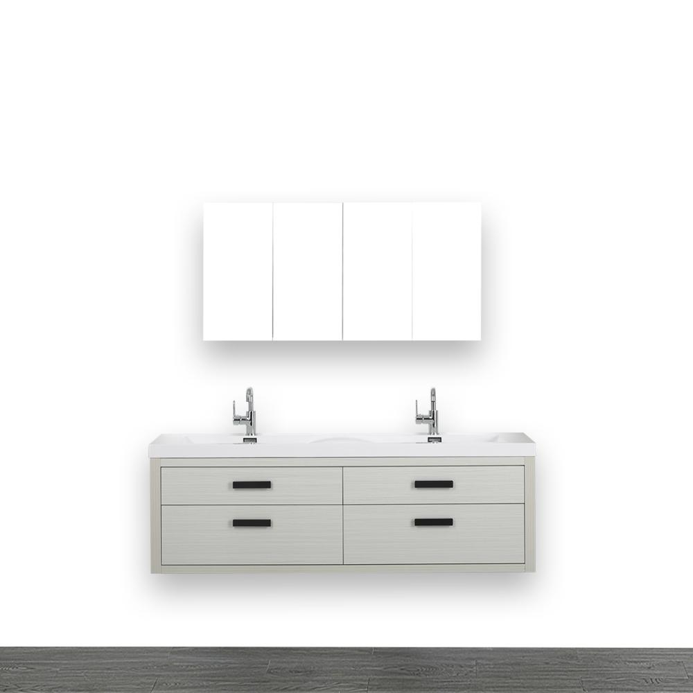 Streamline 63 in. W x 19.4 in. H Bath Vanity in Gray with Resin Vanity Top in White with White Basin and Mirror