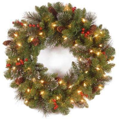 20 in. Crestwood Spruce Wreath with Silver Bristle, Cones, Red Berries and Glitter with 35 Clear Lights