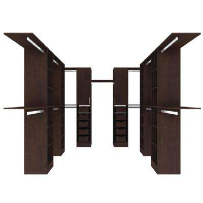 Madison 165 in. D x 150 in. W x 84 in. H Melamine Walk-in Closet System Kit in Mocha