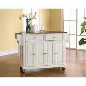 Bon Internet #204460602. +3. Crosley White Kitchen Cart With Stainless Steel Top