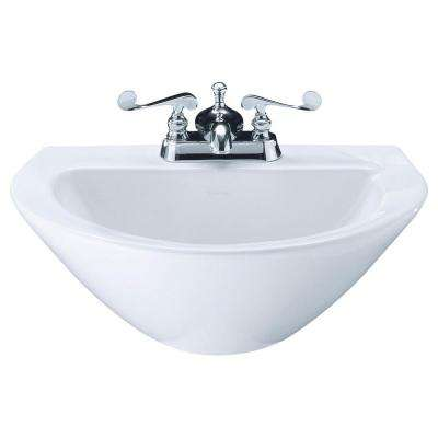 Vitreous China Pedestal Sink Basin In White With