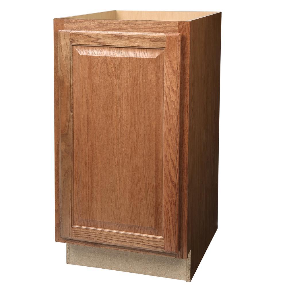Hampton Assembled 18x34.5x24 in. Pull Out Trash Can Base Kitchen Cabinet in Medium Oak