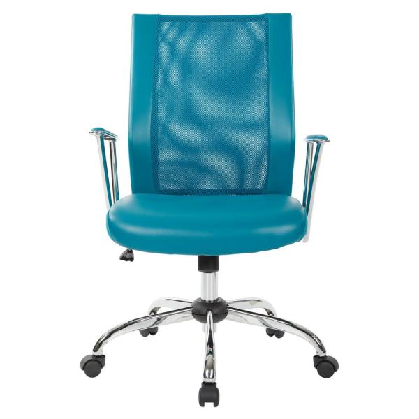 OSP Home Furnishings Bridgeway Blue Woven Mesh Office Chair and Chrome