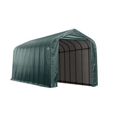 15 ft. x 24 ft. x 12 ft. Green Steel and Polyethylene Garage Without Floor