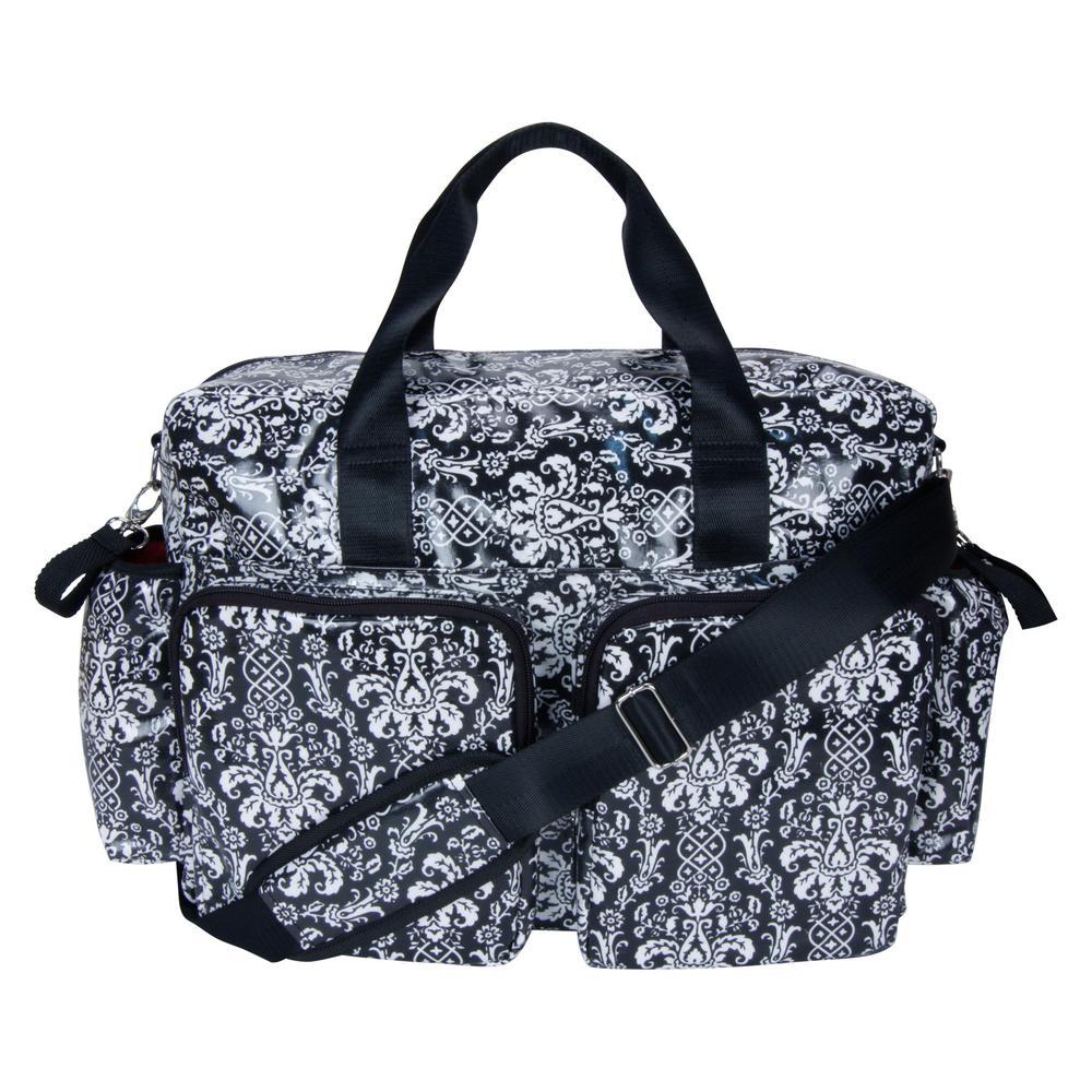 12 in. Midnight Fleur Deluxe Duffle Diaper Bag