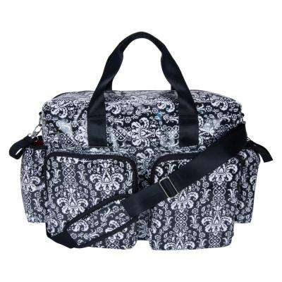 12 in. Midnight Fleur Deluxe Duffle Diaper Bag