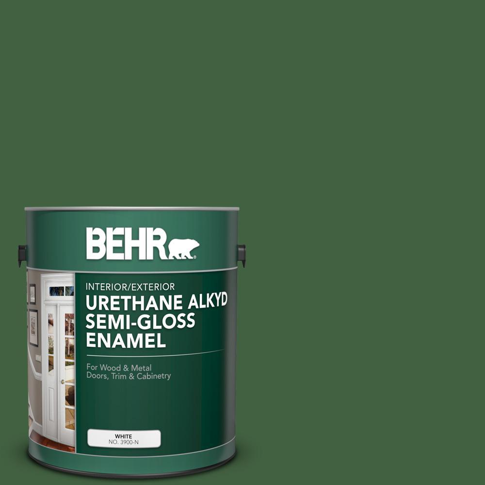 BEHR 1 gal. #S400-7 Deep Viridian Urethane Alkyd Semi-Gloss Enamel Interior/Exterior Paint