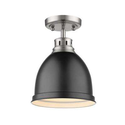 Duncan Collection 1-Light Pewter Flush Mount with Matte Black Shade