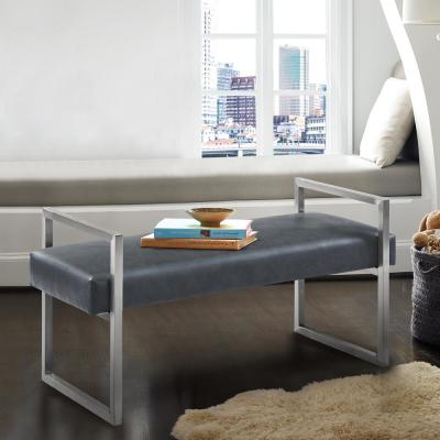 Grant Grey Faux Leather and Brushed Stainless Steel Contemporary Bench