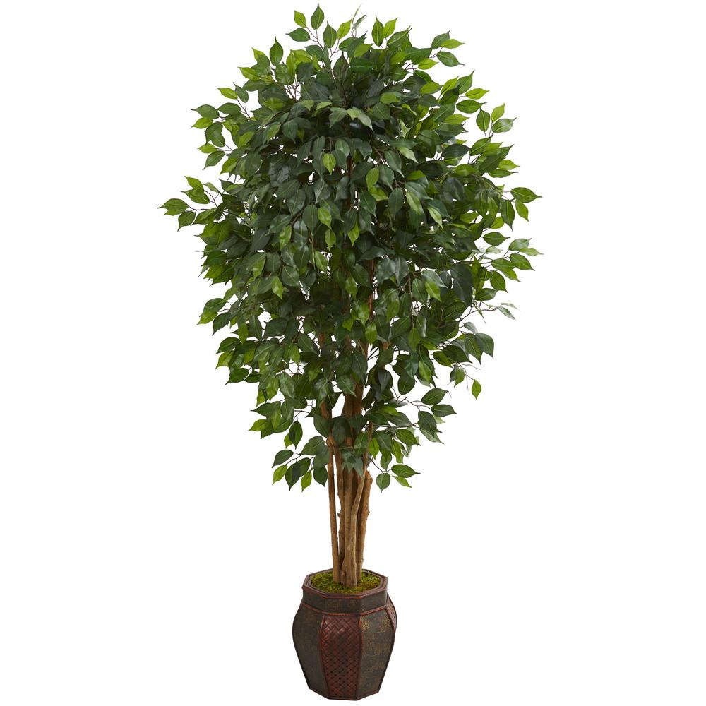 Nearly Natural Indoor 6 Ft Ficus Artificial Tree In Decorative