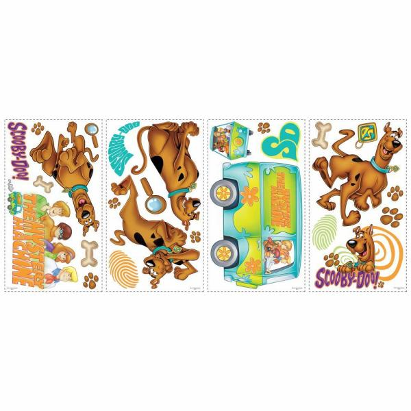 5 in. x 11.5 in. Scooby Doo Peel and Stick Wall Decals (26-Piece)