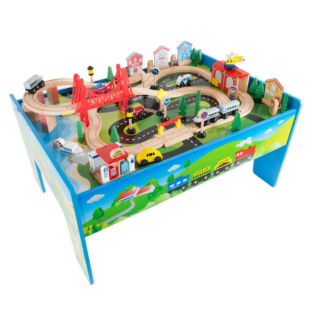 L Multi-Colored Wooden Train Set and Table  sc 1 st  The Home Depot & Hey Play 32 in. L Multi-Colored Wooden Train Set and Table-HW3300008 ...
